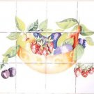 "Fruit Bowl Ceramic Tile Mural 12pcs 4.25"" x 4.25""  Kiln fired Back Splash Decor"
