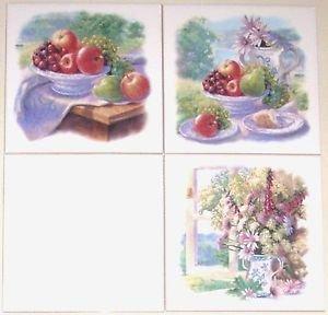 "Morning Window 3 of 6"" Mural Ceramic Tile Accents Kiln Fired Apples Back Splash"