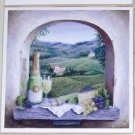"Vineyard Window White Wine Ceramic Tile Accent 4.25"" Kiln fired Decor Grapes"