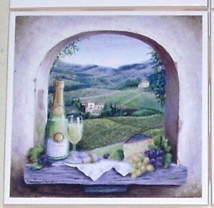 "Vineyard Window White Wine Ceramic Tile Accent 4.25"" Kiln fired Decor Grapes"