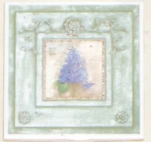 "Lavender Flower Ceramic Tile 4.25"" x 4.25"""" Kiln Fired Vintage Decor"