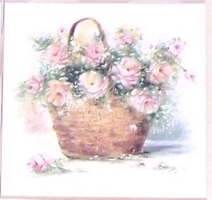 """Pink Rose Basket Ceramic Tile Accent 4.25"""" x 4.25"""" Kiln Fired Decor Flower"""