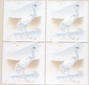 "Heron Ceramic Tile Accent Tiles Kiln Fired 4.25"" Water Bird  Kiln Fired Herron"