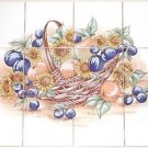 "Closeout Sunflower and Plums Ceramic Tile Mural 12 of 4.25""  Kiln Fired Back Splash"