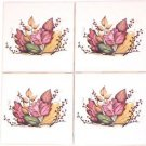 "CLOSEOUT Autumn Leaves Ceramic Tile Accents set of Four 4.25"" Kiln Fired Fall Leaf Decor"