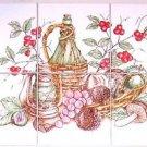"Closeout Wine Garden Ceramic Tile Mural 6pcs 4.25"" x 4.25"" Flower Kiln Fired Decor"