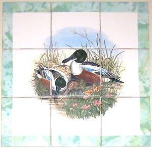 Closeout Duck Ducks Bird Ceramic Tile Mural 9pc 4.25  Backsplash Kiln Fired