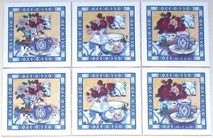 "CLOSEOUT Rose Roses Tea Cup Flowers Blue Delft Flower 6 set 4.25"" Kiln Fired Ceramic Tile"