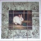 "Closeout White Rabbit Ceramic Tile Mural Back Splash 9pcs 4.25"" Bunny Kiln Fired Decor"