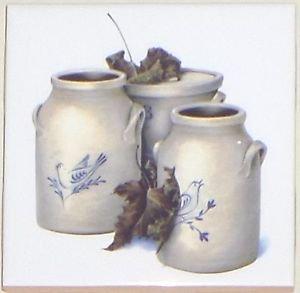 "CLoseout FOUR Crock 4.25"" x 4.25"" Accent Ceramic Tiles  Backsplash Kiln Fired Decor Gray"