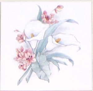 "Closeout FOUR Calla Lily Flower 4.25"" x 4.25"" Acct Ceramic Tiles Kiln Fired Back Splash Decor"