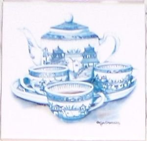 "Closeout FOUR Blue Tea Set Ceramic Tiles Mural Acct  4.25"" x 4.25"" Kiln Fired BackSplash Decor"