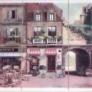 "Via Veneto Ceramic Tile Mural 6 of 6"" Village Scene Kiln Fired Backsplash"