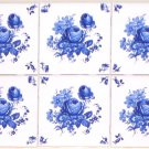 "Blue Ceramic Rose Tiles Set of 6 /4.25""Blue Delft Design with Corners Kiln Fired"