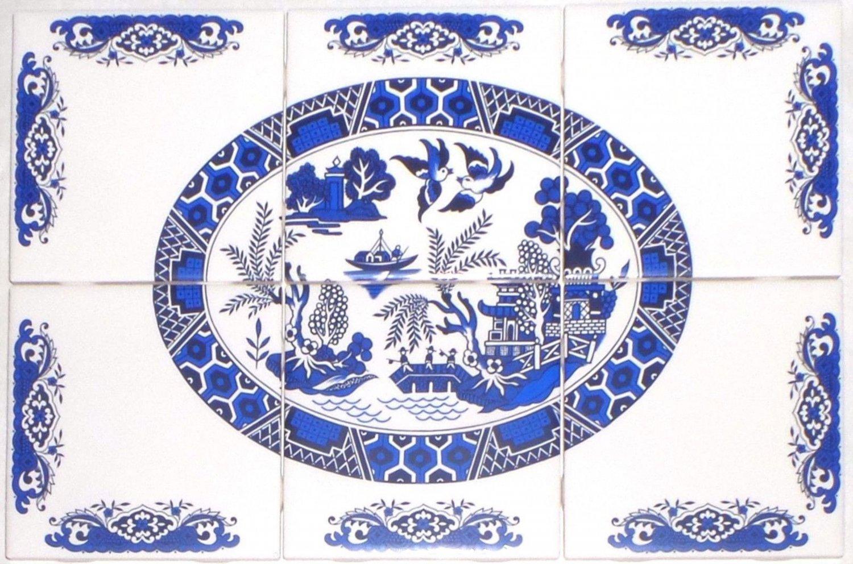 """Kiln Fired Blue Willow Ceramic Tile Mural 6pcs of 4.25"""" x 4.25"""" back splash"""