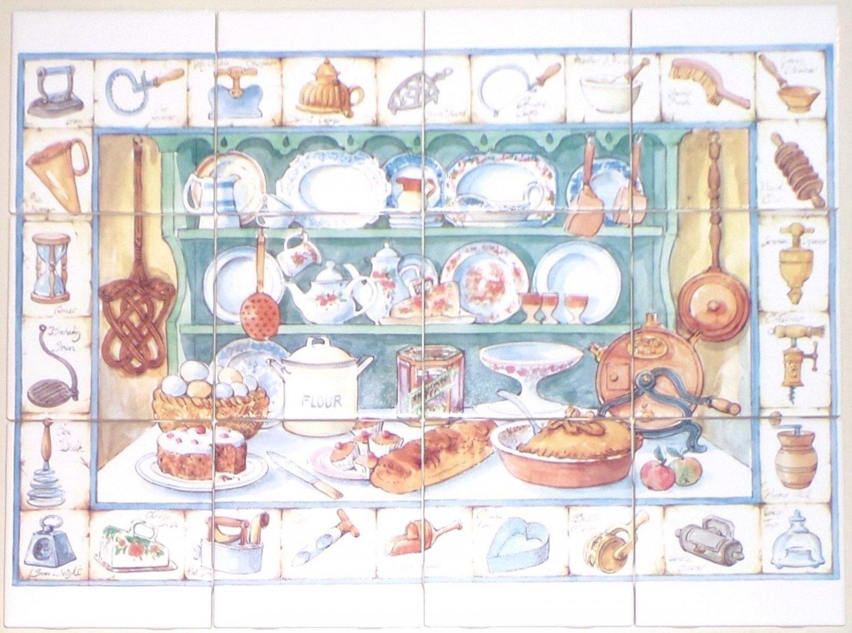 """Kitchen Cupboard Ceramic Tile Mural 12pc 4.25"""" x 4.25"""" Kiln Fired Back Splash"""
