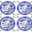 """Blue Willow Ceramic Tile set of 4 of 4.25"""" x 4.25"""" Kiln Fired Decor Back Splash"""