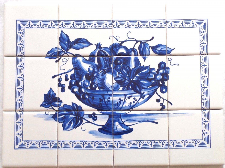 """Blue Fruit Ceramic Tile Mural 12pc 4.25"""" x 4.25"""" Kiln Fired Back Splash Delft"""