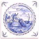 "Blue Delft Design Ceramic Tile 4.25"" x 4.25"" House Windmill Kiln Fired with Corners #1"