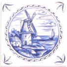 "Blue Delft Design Ceramic Tile 4.25"" x 4.25"" House Windmill Kiln Fired with Corners #2"