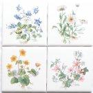 """Flower Herb Ceramic Tile 4 of 4.25"""" x 4.25"""" Aquilegia vulgaris, Altha palustris"""