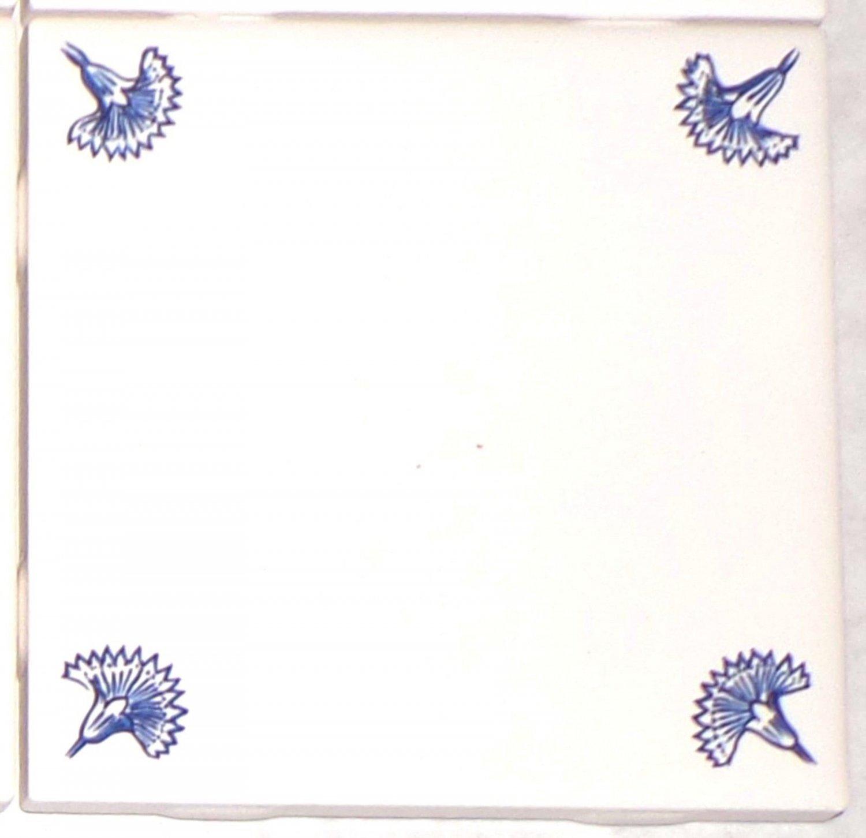"Delft Design Ceramic Tiles Blue ONE /4.25"" Floret Flower Corners Only Kiln Fired"