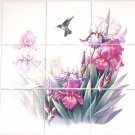 "Hummingbird Iris Ceramic Tile Mural Lavender and Pink  Flowers 9pc of 4.25"" Bird"