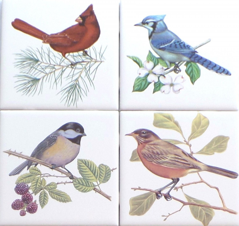 "Beautiful Birds Ceramic Tile set 4 of 4.25"" x 4.25"" Kiln Fired Song Bird Decor A"
