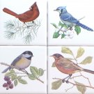 "Beautiful Birds Ceramic Tile set 4 of 4.25"" x 4.25"" Kiln Fired Song Bird Decor A"