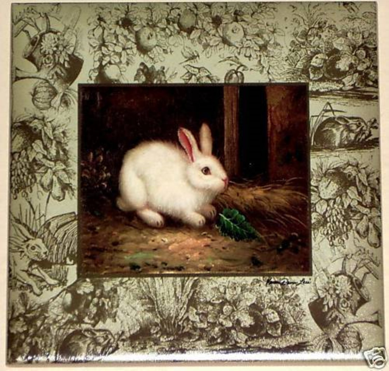 "Beautiful White Bunny Rabbit Ceramic Tile Accent 6' x 6"" Kiln fired Decor"