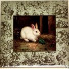 "Beautiful White Bunny Rabbit Ceramic Tile Accent 6' x 6"" Kiln fired Decor"