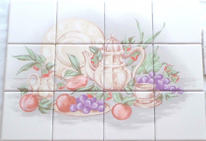 """Grape Ceramic Tile Mural 12pc 4.25"""" x 4.25"""" Kiln Fired Back Splash"""
