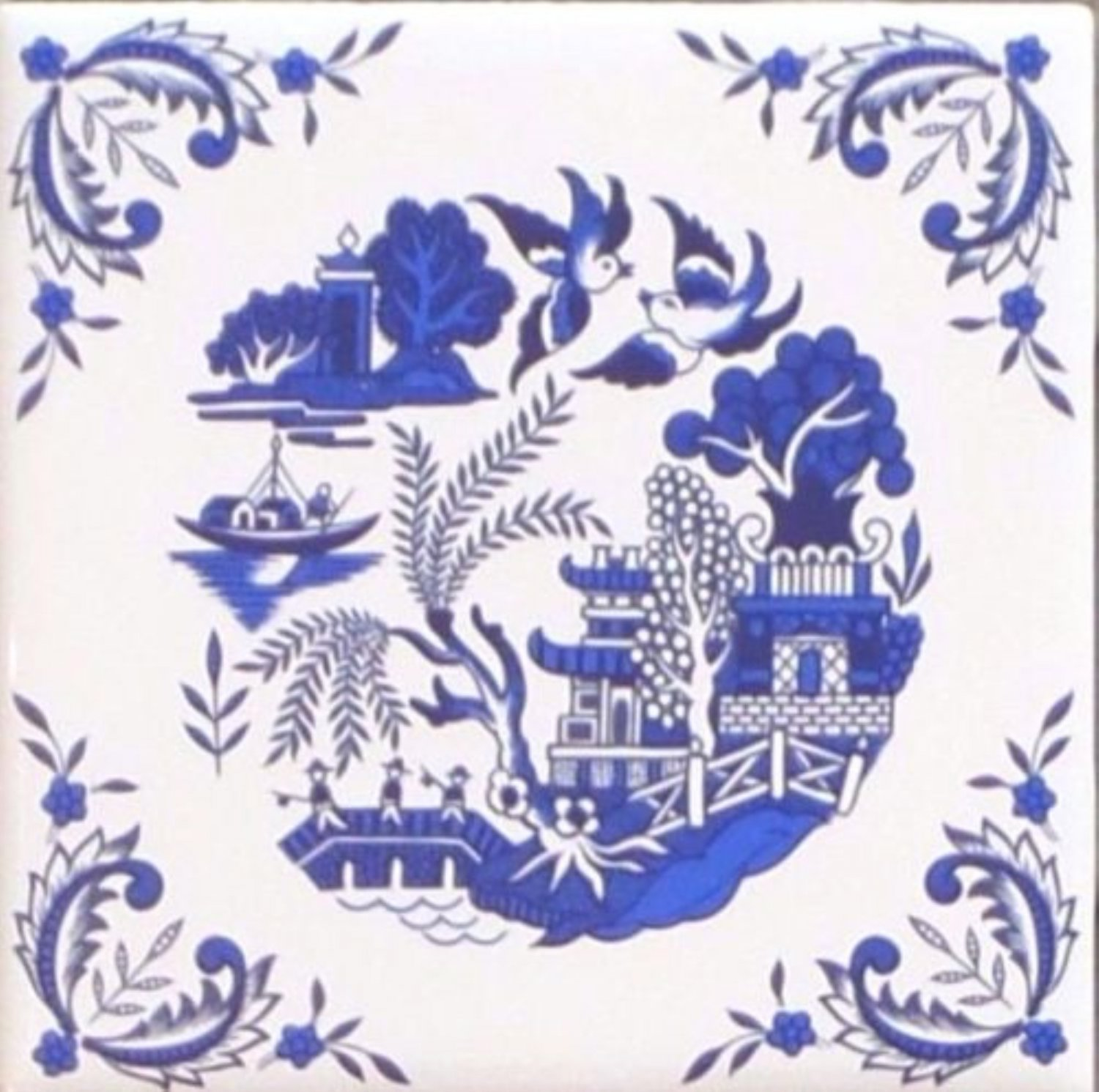 "Blue Willow Ceramic 4.25"" Accent Tile Kiln Fired Decor with Decorative Corners"