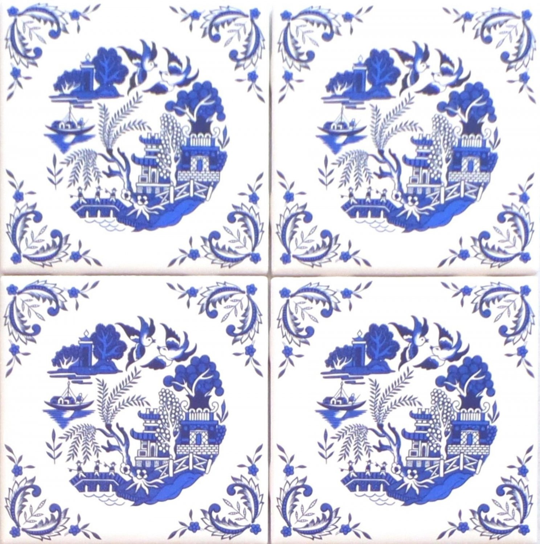 "4 set Blue Willow Ceramic 4.25"" Accent Tile Kiln Fired Decor Decorative Corners"