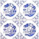 "4 set Blue Willow Ceramic 4.25"" Accent Tile Kiln Fired Decor Decorative Corners"