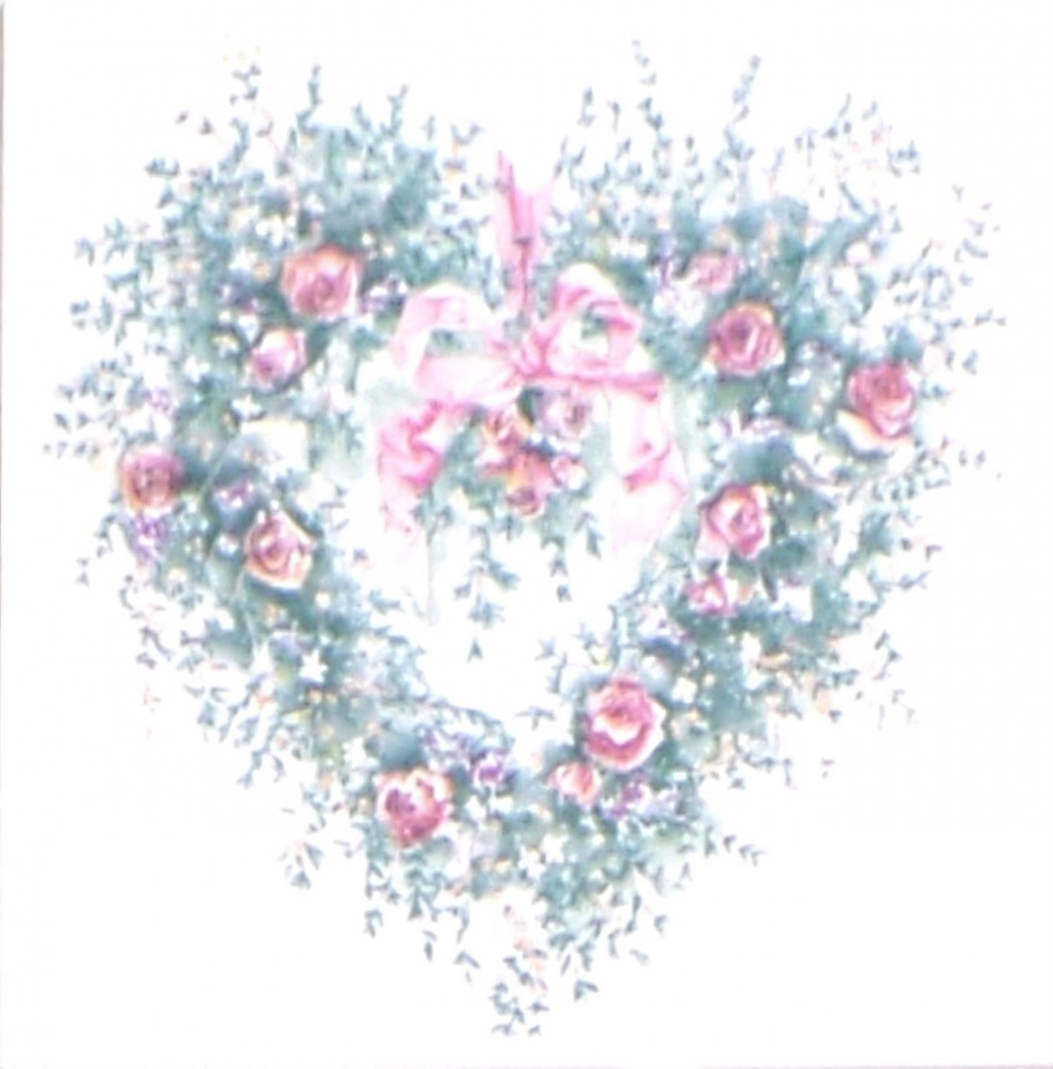 "Closeout Heart Pink Rose Ceramic Tile Mural Accent 4.25"" x 4.25"" Kiln Fired Back Splash"