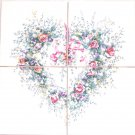 "Closeout Heart Pink Rose Ceramic Tile Mural 4 pc 4.25"" x 4.25"" Kiln Fired Back Splash"