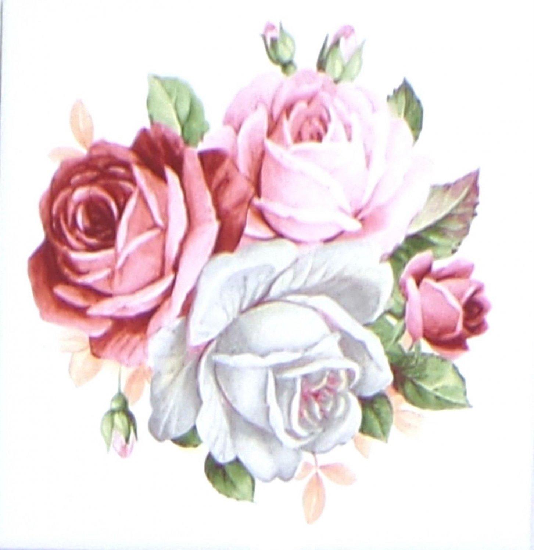 """Summer Bloom Roses Flower Pink Ceramic Tile 4.25"""" x 4.25"""" Kiln Fired Decor"""