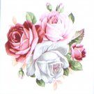 "Summer Bloom Roses Flower Pink Ceramic Tile 4.25"" x 4.25"" Kiln Fired Decor"