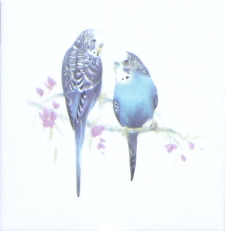 "Blue Parakeet Ceramic Tile 4.25"" Bird Collection Kiln Fired Decor BackSplash"