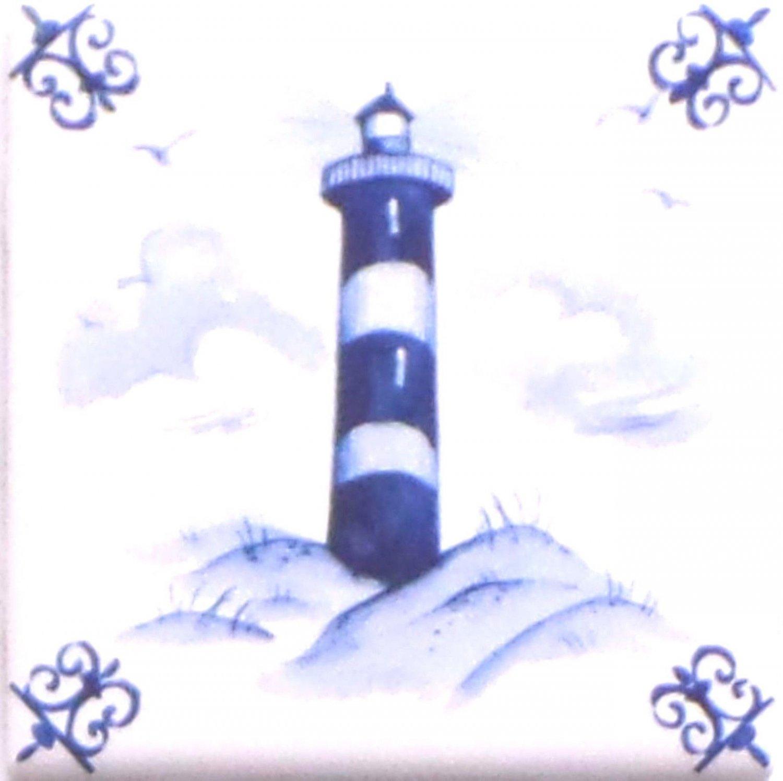 Blue Light House Ox Tail Ceramic Tile Accent Kiln Fired Back Splash Delft Design 4.25