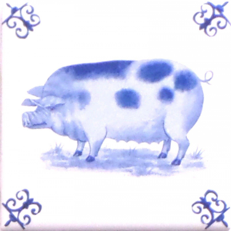 "Blue Pig Ox Tail Ceramic Tile Accent Kiln Fired Back Splash Delft 4.25"" x 4.25"""