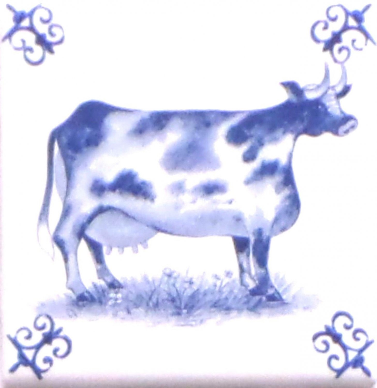 Blue Cow Ox Tail Ceramic Tile Accent Kiln Fired Back Splash Delft 4.25""