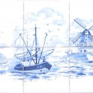 "Blue Delft Ceramic Tile Mural 6pcs 4.25"" Light house Windmill Boat Kiln fired"