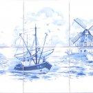 "Blue Delft Ceramic Tile Mural 6pcs 4.25"" Light house Windmill Boat Kiln fired"