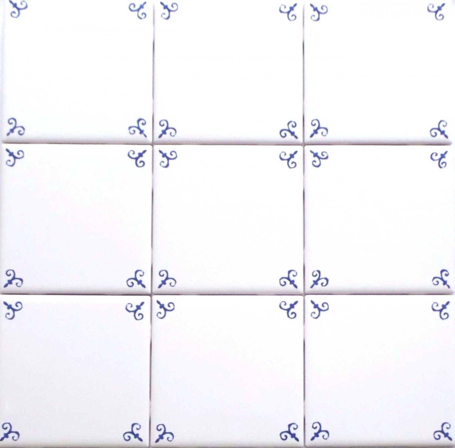 Blue Ox Tail Ceramic Tile Accents to Match Mural Kiln Fired Back Splash Delft Design
