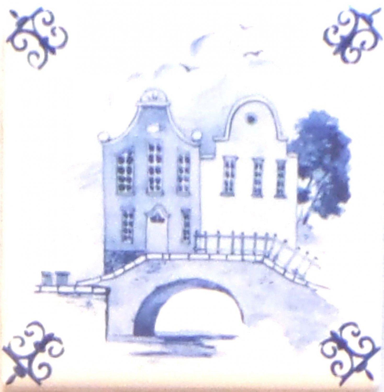 "Blue Promenade Ceramic Tile Accent Kiln Fired Back Splash Delft Theme 4.25"""