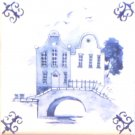 Blue Promenade Ceramic Tile Accent Kiln Fired Back Splash Delft 4.25""
