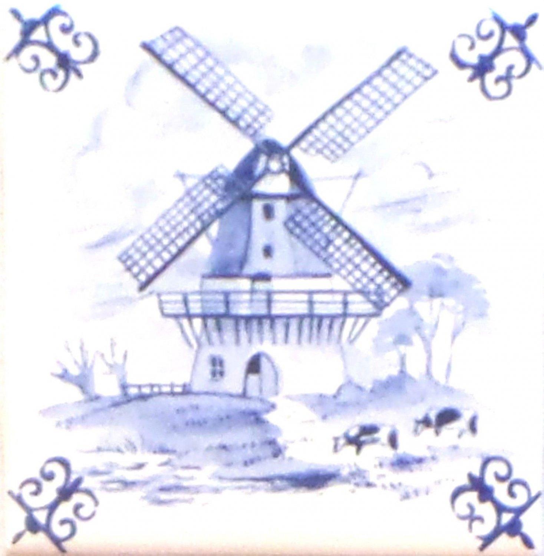 "Blue Wind Mill Ox Tail Ceramic Tile Accent Kiln Fired Back Splash Delft Theme 4.25"""