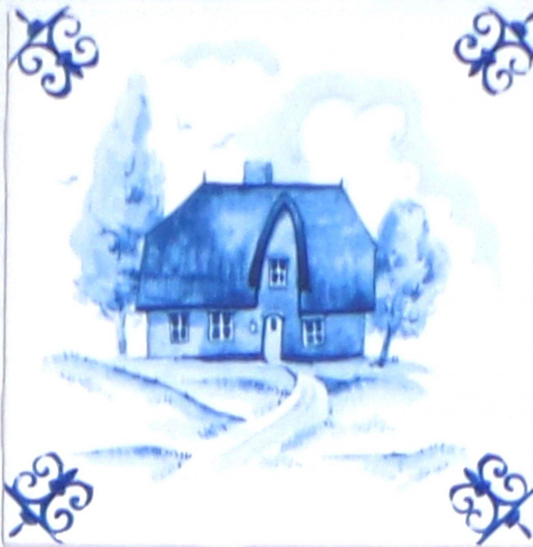 "Blue House Ox Tail Ceramic Tile Accent Kiln Fired Back Splash Delft 4.25"""
